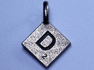 SCRABBLE TILE PENDANT D in Stainless Steel