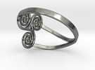triple spiral ring  in Polished Silver