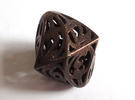 Twisty Spindle Die12 in Polished Bronze Steel