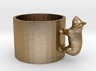 Small Koala Cup-porcelain Shapeways Test in Polished Gold Steel