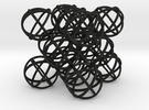 "Packed Spheres Cuboctahedron - 3.6"" in Black Acrylic"