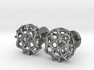 Organic Round Cufflinks in Polished Silver
