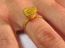 Gold Mine ring - UK O (inside diameter 17.53mm) in Polished Gold Steel