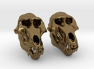 Baboon Skull Earrings - closed jaw in Raw Bronze