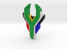 South Africa Springbok Flag Pendant: Flat Version in Full Color Sandstone