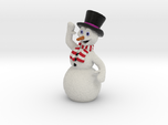 Christmas Snowman Smiling Waving Red-White Scarf