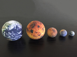 Mercury, Venus, Earth, Moon & Mars to scale v.1