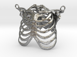 Ribcage With Stylized Heart Pendant