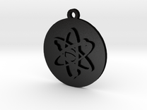 PSA Keychain Atom Icon in Matte Black Steel