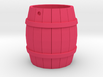Wooden Barrel Keychain in Pink Strong & Flexible Polished