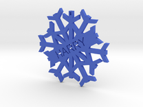 Harry Snowflake Christmas Tree Decoration in Blue Strong & Flexible Polished
