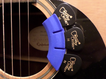 Soundhole Pick Holder Flat Rad in Blue Strong & Flexible Polished