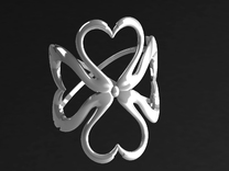 Swan-Heart Ring (small) in Polished Silver