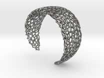 Voronoi Cuff Bracelet - Medium sized cells in Polished Silver