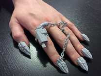 Bite the Bullet Nails** (With Holster Ring) in Metallic Plastic