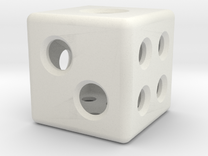 Loaded Hollow Dice (D6) (1.5cm) in White Strong & Flexible