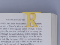 Bookmark Monogram. Initial / Letter R              in Yellow Strong & Flexible Polished