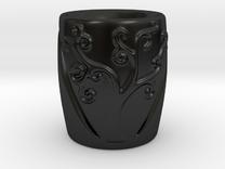 Tree Patterned Mug 1 in Matte Black Porcelain