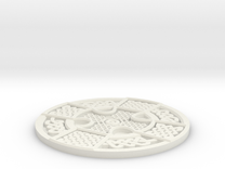 Celtic Manx Wheel Coaster in White Strong & Flexible