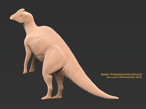 DInosaur Parasaurolophus Baby Joe Standing in White Strong & Flexible
