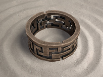 Labyrinth ring: size 9 (US) S (UK) in Polished Bronze Steel