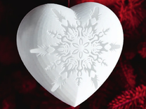 Small Snowflake Heart by Helen & Colin David in White Strong & Flexible