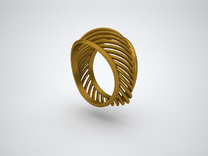 Triangular Rail Arcs Ring - Size 6.75 in Polished Gold Steel