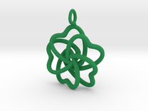 Heart Petals 5 Leaf Clover - 3.5cm - wLoopet in Green Strong & Flexible Polished