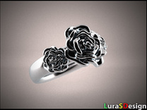 Wild Rose Ring in Stainless Steel