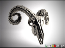 Large Ram Skull - Pendant in Stainless Steel