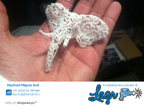Elephant Filigree Bust in White Strong & Flexible