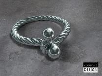 Ring - Twist with Balls in Stainless Steel