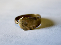 Art deco Spoon Ring Size 7.5 in Raw Bronze