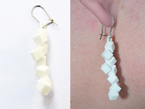 Earrings Falling cubes in White Strong & Flexible Polished