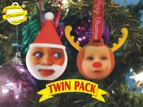 FatherChris&Reindeer baubles twinpack(personalise) in Full Color Sandstone