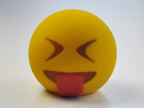 3D Emoji Sticking Tongue Out in Full Color Sandstone