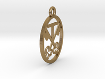 armorial bearings pendant in Polished Gold Steel
