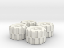 28mm Scale Off Road Tire Set in White Strong & Flexible