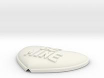 Heart Pendant Insert - BE MINE in White Strong & Flexible