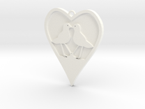 heart with two birds, solid bottom, one top ring 1 in White Strong & Flexible Polished