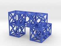 Twirl cubed puzzle part #3 in Blue Strong & Flexible Polished