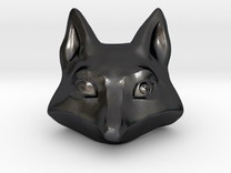 Large Foxhead Medallion in Polished Grey Steel