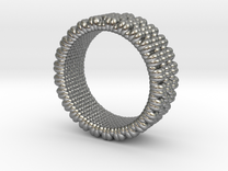 Pebble Ring - Checkered Pattern 1 (19mm) in Raw Silver
