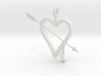 Heart & Arrow Pendant in White Strong & Flexible