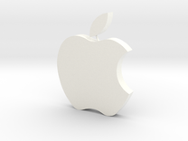 Large Apple  Logo 8cm x 10cm x 2cm  in White Strong & Flexible Polished