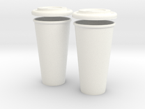 BJD Doll Coffee House Cup and Lid - 2 Pack in White Strong & Flexible Polished