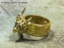 Ring - Deathring the Destroyer (Size 13) in Polished Brass