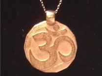 Large Om Pendant  in Polished Gold Steel