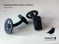 Bike Racing Wheel Cufflinks in Matte Black Steel