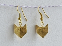 Foxy Geometric Earrings in Polished Brass